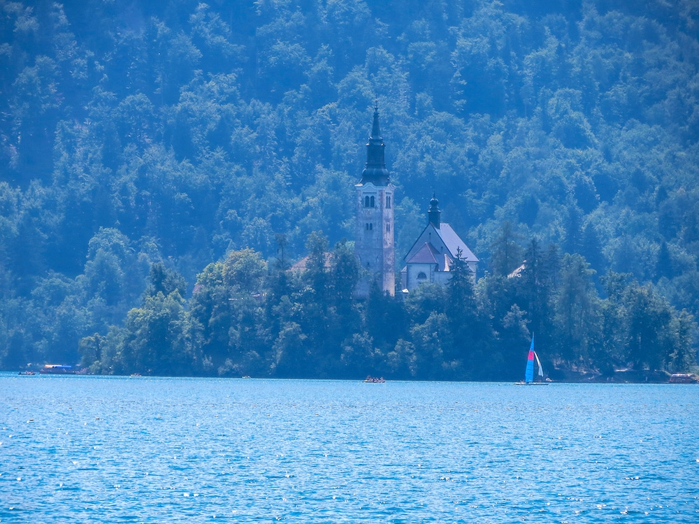 beautiful churches in bled backpack
