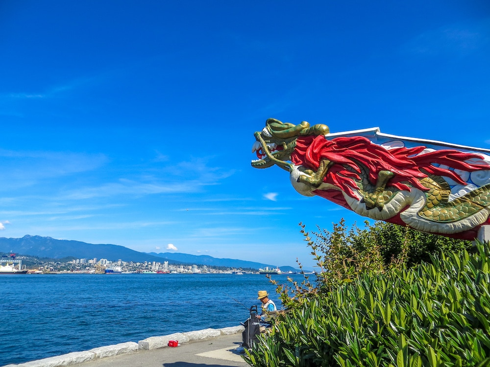 the dragon statue is one of my favorite views in stanley park
