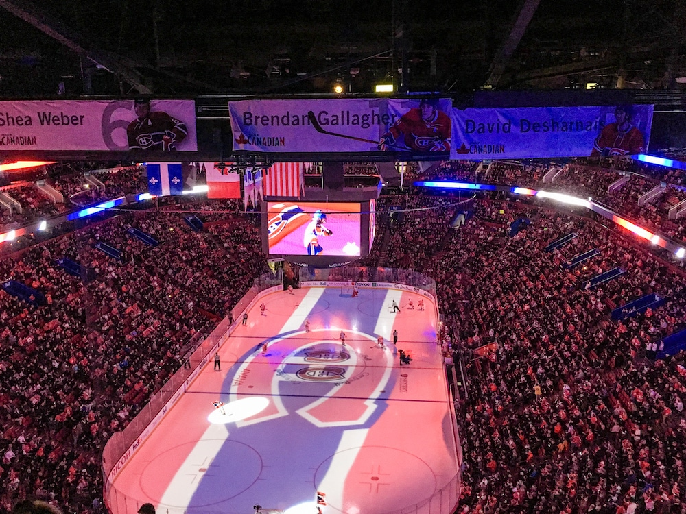 solo travel montreal at a hockey game