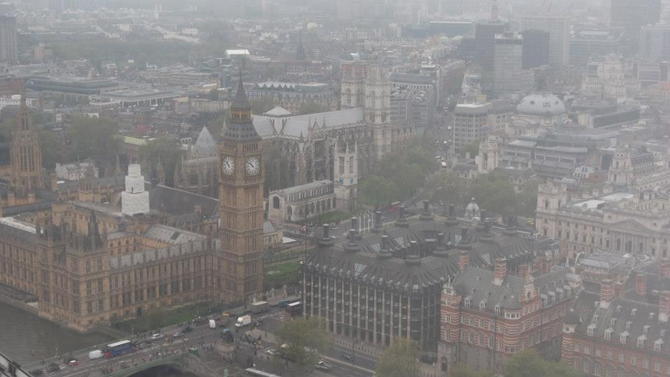 foggy view from the london eye
