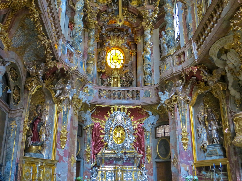 one of the fun things to do alone in munich is having a quiet moment in a pretty church