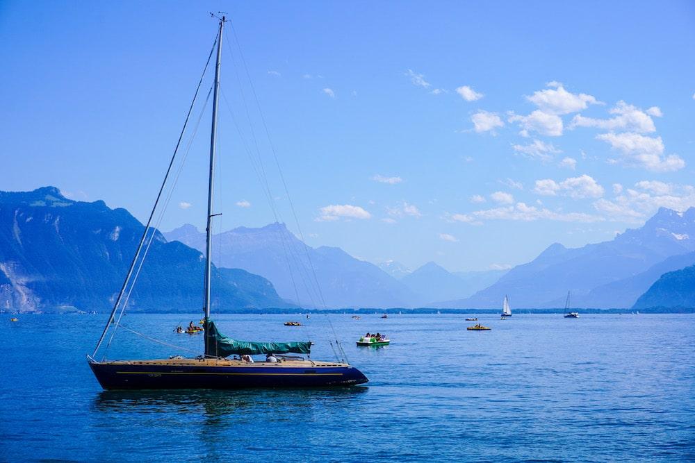 sailing on lake geneva on a summer's day